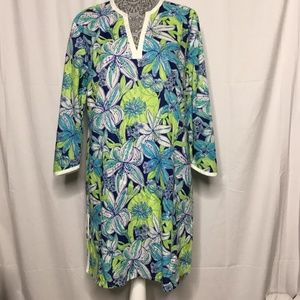 Lilly Pulitzer Size Large Blue Tunic Top Beaded Gr